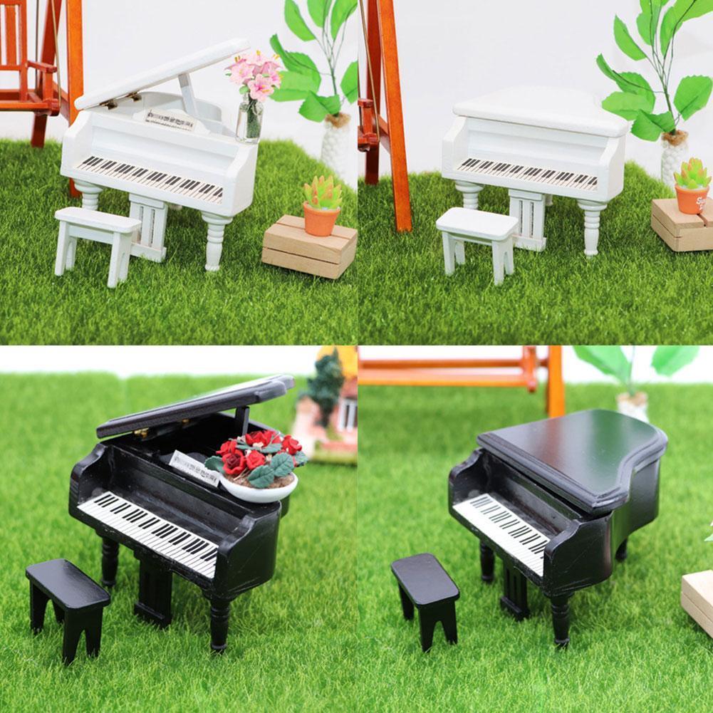 Miniature Piano Set 1/12 Dollhouse Mini Wood Piano With Stool Piano Score Instrument Model For Kids Gift White/Black