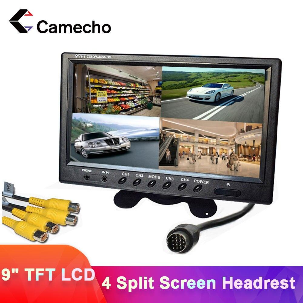 Camecho 9 بوصة 4 سبليت شاشة سيارة رصد 12 فولت/24 فولت مسند الرأس رصد الرؤية الخلفية مع موصلات RCA 6 وضع عرض التحكم عن بعد