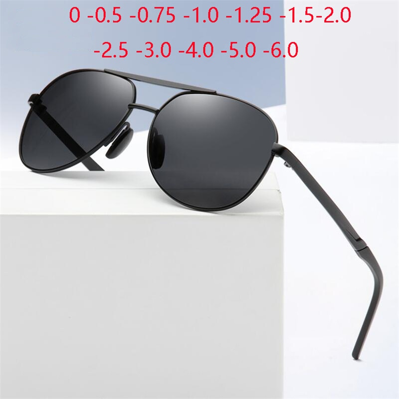 Double Beam Black Frame Gray Lens Nearsighted Sunglasses Men Polarized Metal Prescription Sunglasses