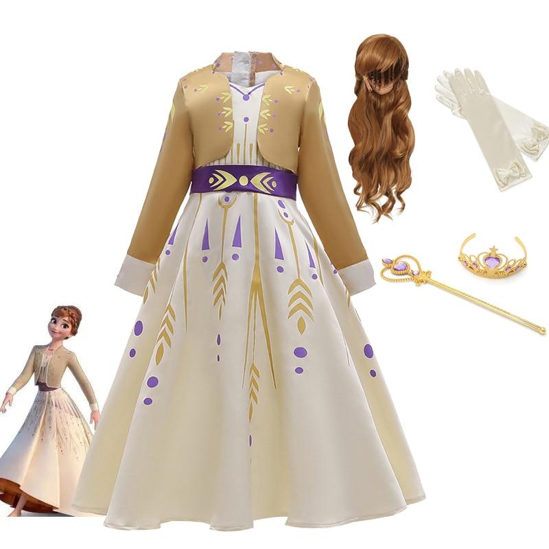 Frozen Princess Girls Dress Anna Cosplay Costume Snow Queen Elsa 2 Dresses Anna Dress for Birthday Halloween Cosplay Costume