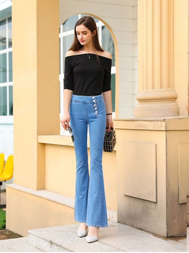 Free Shipping 2021 New Fashion Long Jeans Pants For Women Boot Cut Trousers Plus Size 25-30 High Waist Denim Stretch Jeans