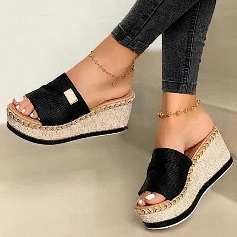 Summer Wedges Slippers Platform High Heel Women Slipper Ladies Outside Shoes Basic Clog Wedge Slipper Flip Flop Sandals