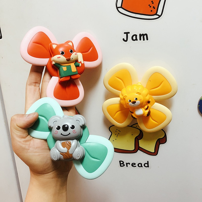 Children Classic Funny Kids Toys Cute Cartoon animal Suction Cup Spinner Toy Baby Rattle Spin Top Bath Toys For Children enlarge