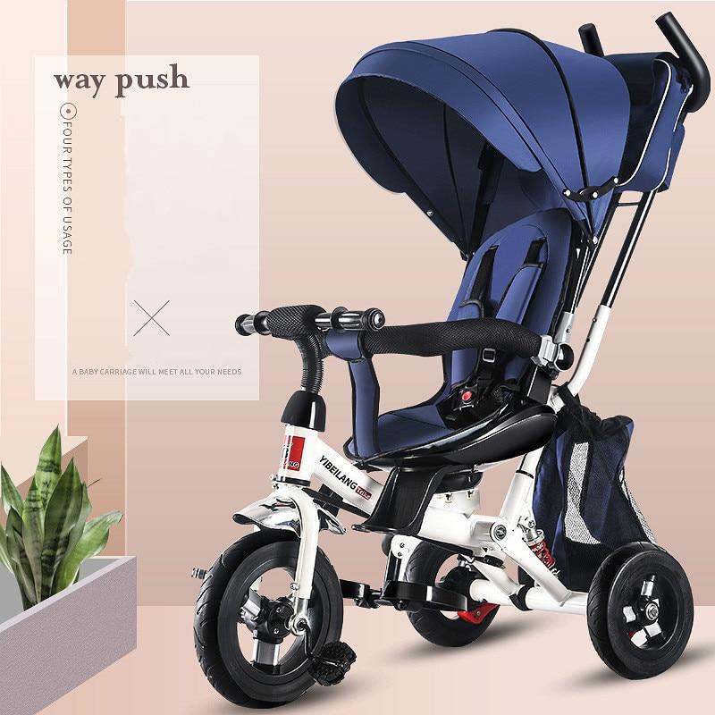 4 في 1 الرضع دراجة ثلاثية العجلات للطي الدورية مقعد الطفل عربة 3 عجلة دراجة الاطفال الدراجات ثلاثة عجلة عربة الطفل عربة 6M-6Y