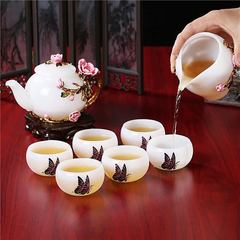 إبريق شاي زجاجي من اليشم الأبيض مطلي يدويًا ، طقم شاي من البورسليكات المقاوم للحرارة