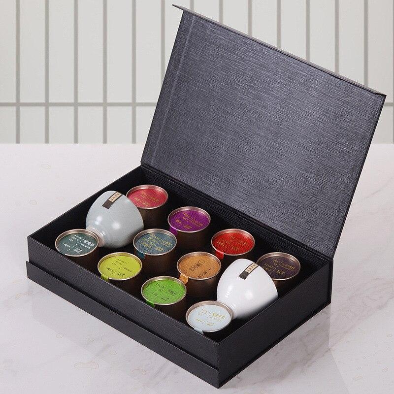 عشرة أنواع من زهرة الشاي رحيق بوير Biluochun الأخضر البرتقالي الشاي ورقة هدية صندوق علب الألومنيوم الصغيرة الشاي