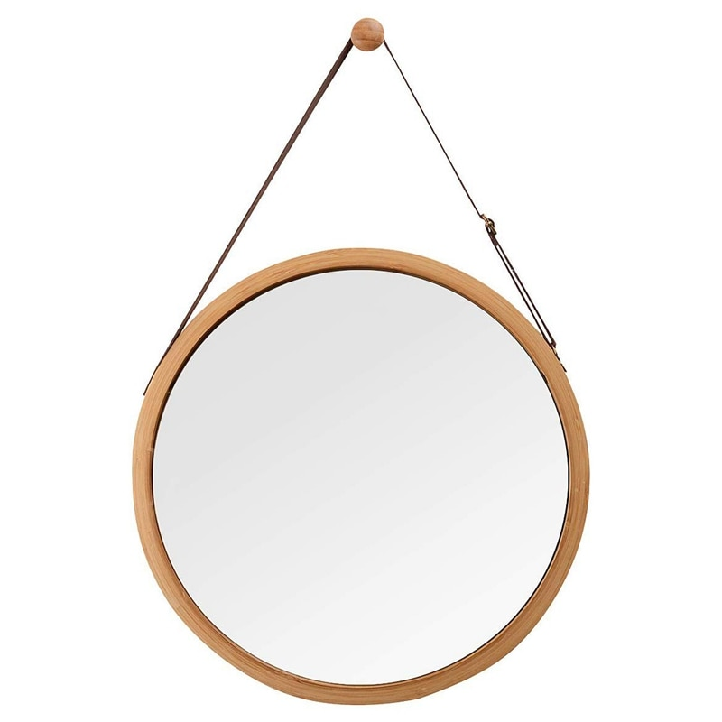 مرآة حائط دائرية للحمام وغرفة النوم ، مع إطار من الخيزران الصلب وحزام جلدي قابل للتعديل