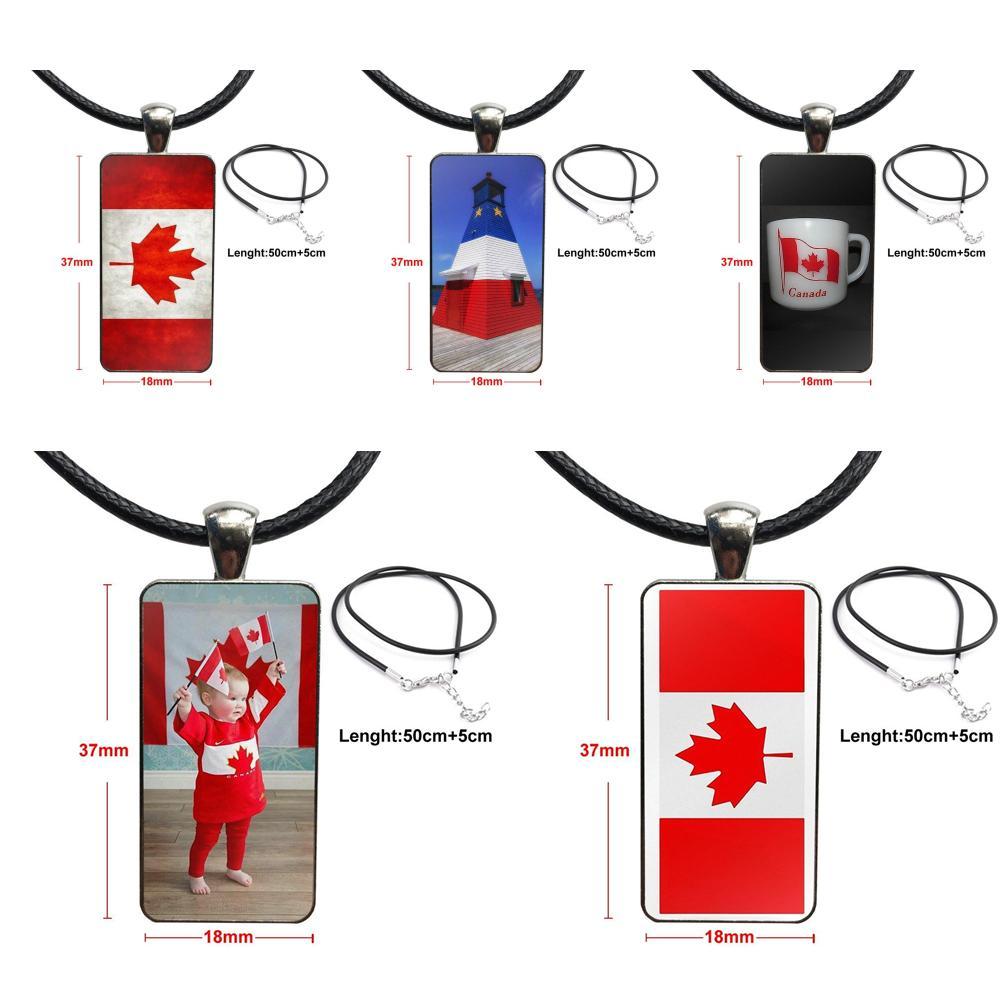 Moda cabujón de cristal colgante rectángulo collar gargantilla collar joyería para Mujeres Hombres Fiesta blanco rojo bandera canadiense