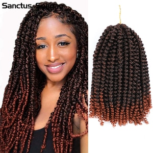 Spring Twist Crochet Braiding Hair 8 Inch Bomb Twist Crochet Braids Ombre Colors Synthetic Fluffy Hair Extensions Sanctus Songao
