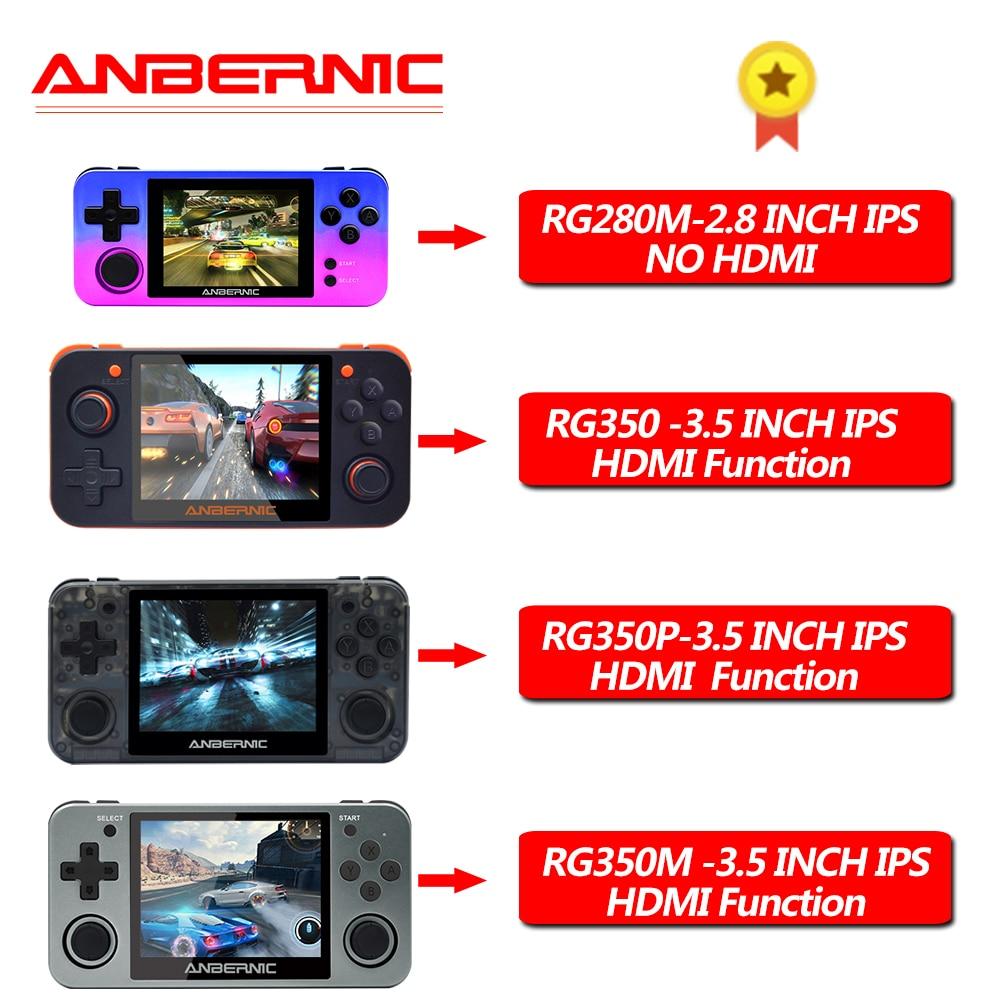 ANBERNIC RG350/RG350M/RG280M Retro Juegos de video consolas de 16G 64 bits PS1 video juego portátil MINI RG280 consolas RG350P, nuevo