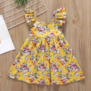 Summer 2020 Girls Dress Girls Winter Cute Dress Sleeveless O Neck Print Floral Pink Cute A-line Cute Dress Vestidos 1-6T