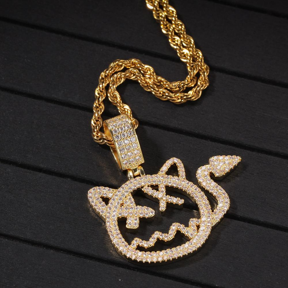 Новое поступление хип-хоп мультяшный Кот Маленький дьявольский кулон микро проложенный кубическим цирконием лед для мужчин женщин побрякушки рэппер ювелирные изделия подарки