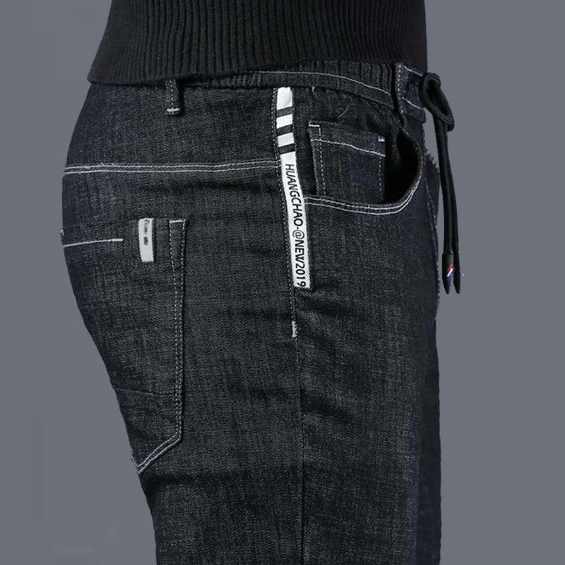 Мужские брендовые джинсы, Осень-зима 2019, Новые облегающие джинсы из хлопка высокого качества, Стрейчевые джинсы, молодежные модные повседне...
