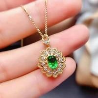 royal flower carving green crystal emerald gemstones diamonds pendant necklaces for women 18k gold color choker jewlery bijoux