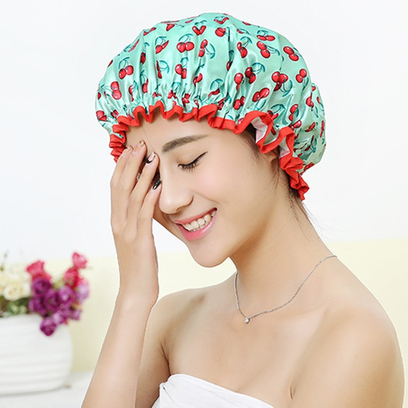 Women Hair Cap Hat Supplies Bathroom Double Layer Shower Waterproof Thick Cover Accessories