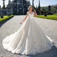 luxury wedding dresse sleeveless o neck lace applique charming gowns sexy backless shiny tulle vestidos de novia tailor made