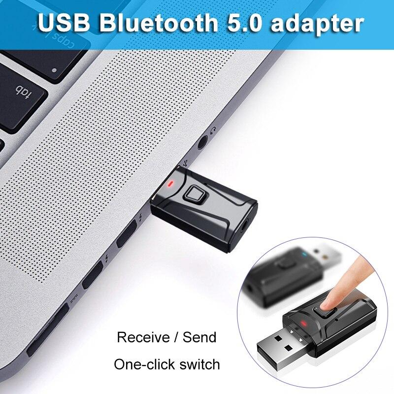 Bluetooth 5,0 Empfänger Sender 3 In 1 Mini Stereo AUX USB 3,5mm Audio Wireless Adapter Für TV PC Auto kopfhörer QJY9
