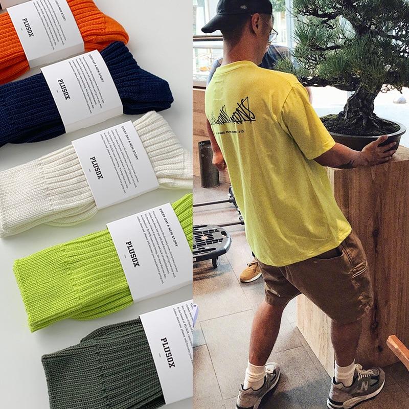 Однотонные оранжево-оранжевые флуоресцентные зеленые мужские и женские однотонные брендовые носки парные осенне-зимние носки с ворсом