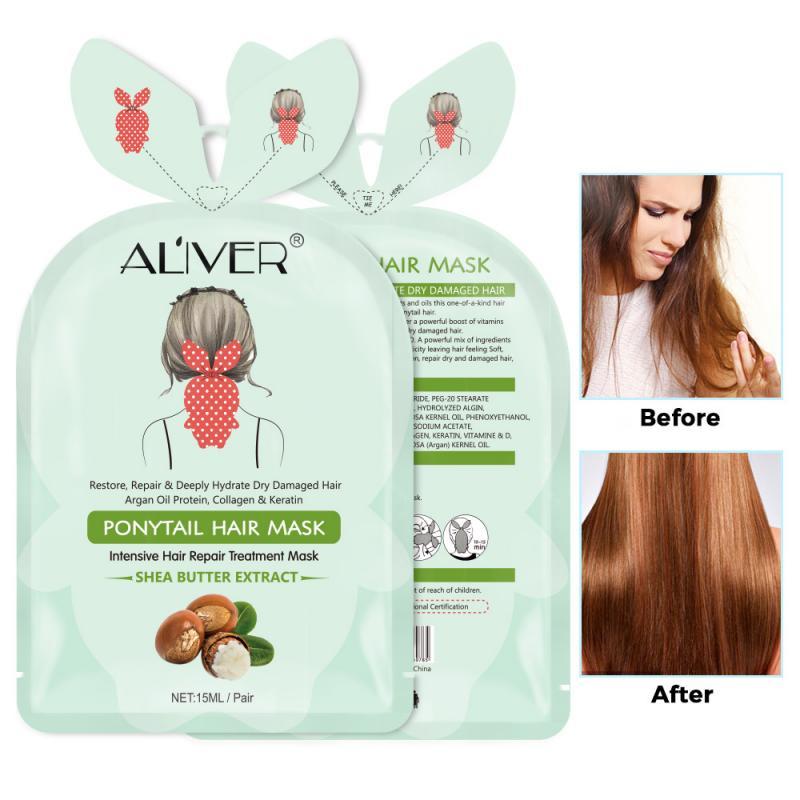 Mascarilla de lactancia para pelo de la cola, mascarilla para tratamiento del cabello con mariposas para reparación del cabello, mascarilla para tratamiento del cabello TSLM1
