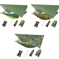lightweight portable camping hammock durable hiking hammock with mosquito net and rain fly tarp cover for travel hiking camping