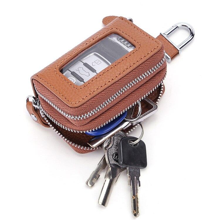 حقيبة مفاتيح عالية الجودة من الجلد ، نافذة مفتوحة بسحاب مزدوج ، حافظة مفاتيح من جلد البقر للسيارة ، هدايا عيد الميلاد