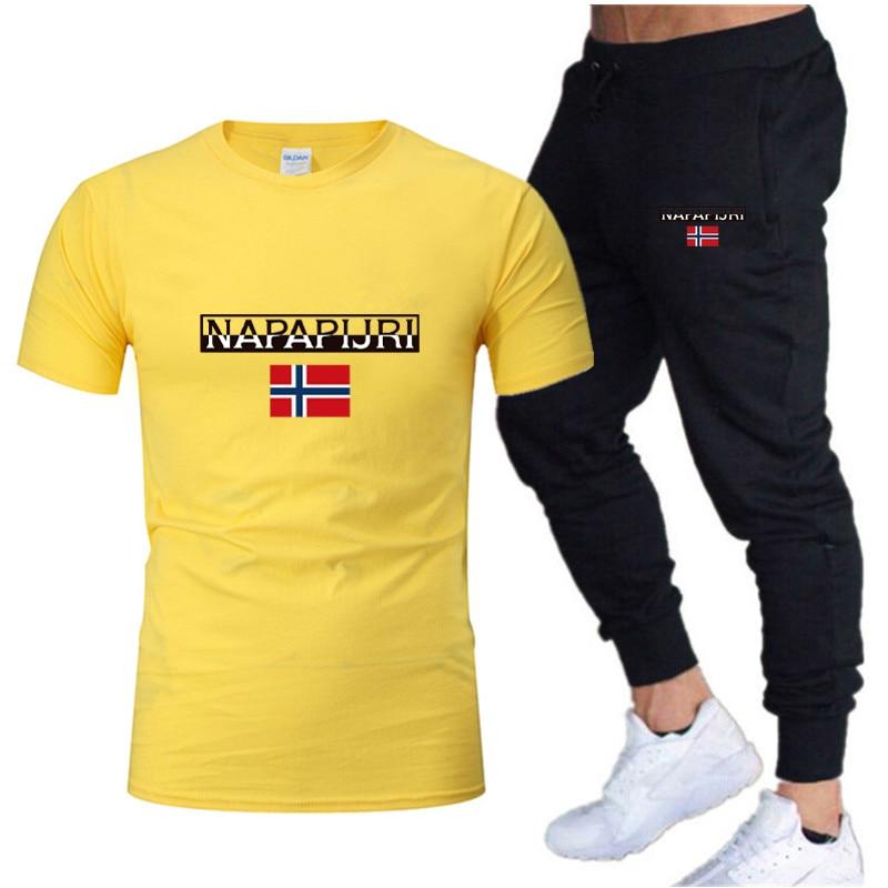 Verão nova tendência de moda masculina terno personalizado moda impressão esportes manga curta t camisa + calças esportivas terno casual