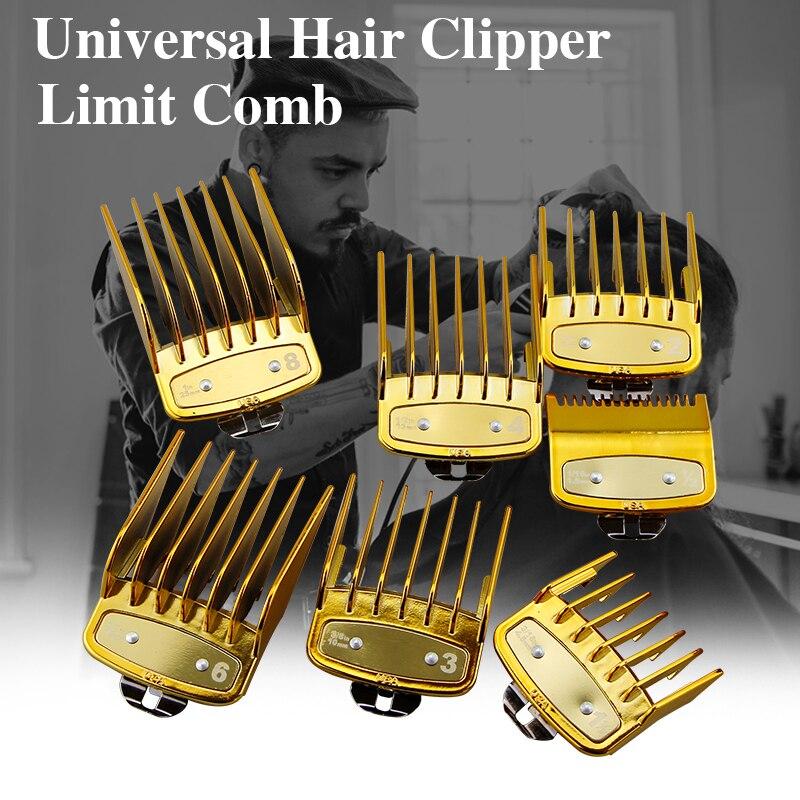 8 Pcs Hair Clipper Limit Comb Gold Professional Universal Hair Clipper Limit Comb Size Barber Replacement Push Shear Tool