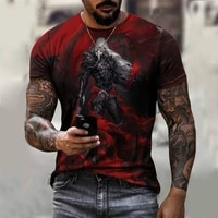 mens demon 3d printing short sleeve t shirt summer casual breathable t shirt 2021 polyester mesh oversized t shirt