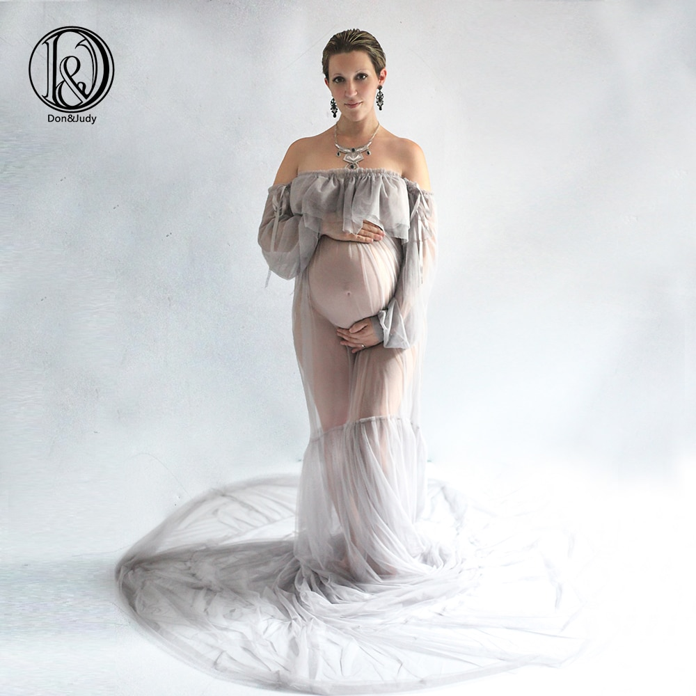 High Quality Sexy Maternity Photography Props Maxi Pregnancy Gown Mesh Clothes Maternity Dress Photo Shooting Baby Shower Gift enlarge