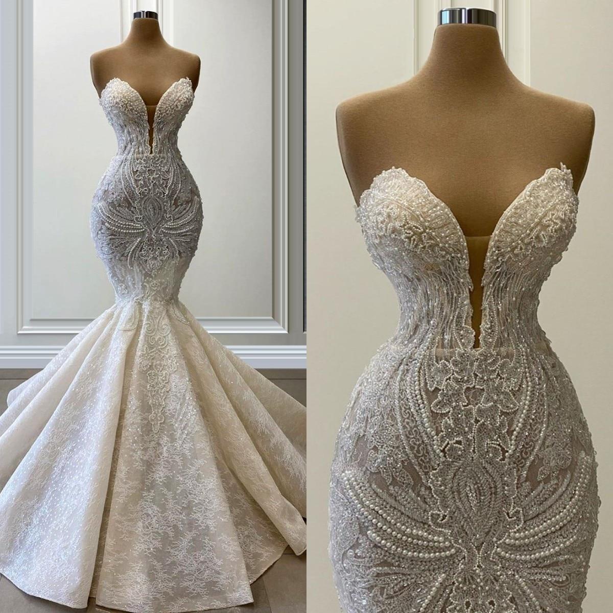 Promo 2022 Lace Pearls Mermaid Wedding Dresses Bridal Gowns Sweetheart Appliques Country Vestidos De Novia