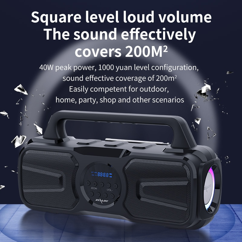 Zealot P2 Solar Charging High Power 40W Wireless Speakers Column Outdoor Portable TWS Subwoofer Sound box For Bluetooth Computer enlarge