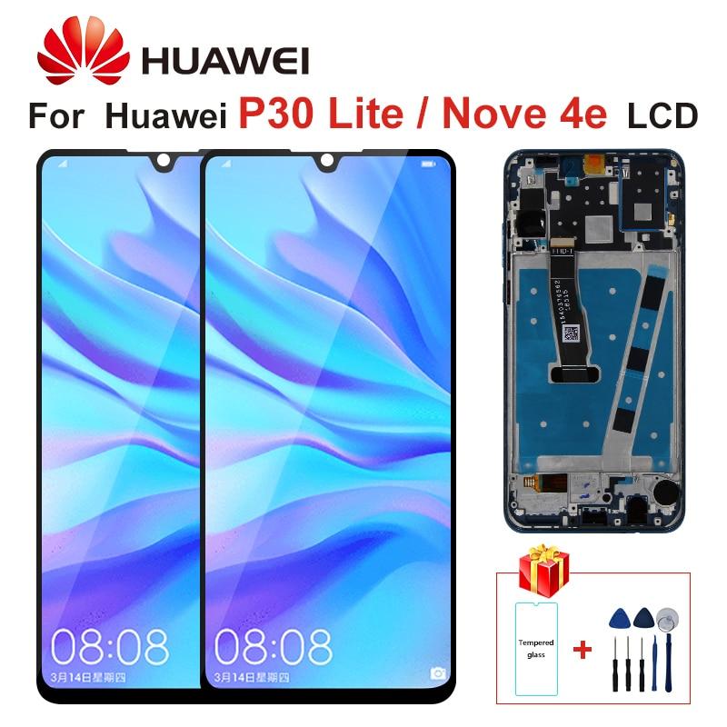 Original pantalla LCD con marco para HUAWEI P30 Lite pantalla LCD de montaje del digitalizador de pantalla para HUAWEI P30 Lite Nova 4e MAR-LX1 LX2
