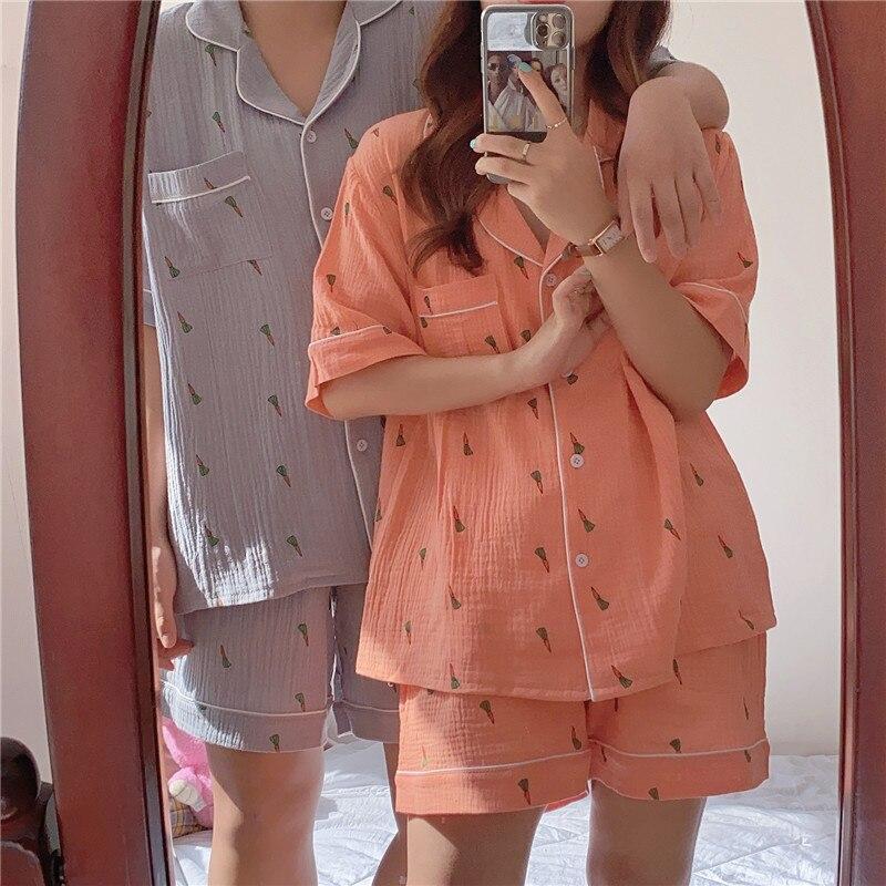 Puple verde coréia estilo casual xadrez longo pijamas feminino pijamas conjuntos simples plus size roupa de noite das senhoras roupas de casa 2pcs y011