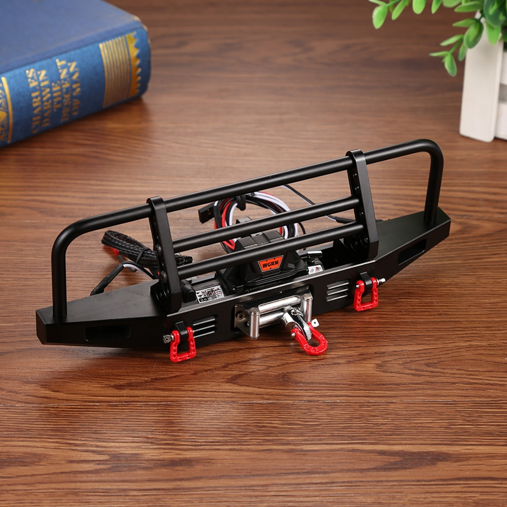 Metal Front Bumper Black Winch 2 LED Round Lamp 3 Mounting Brackets Metal Trailer Hook for 1/10 RC Crawler Traxxas TRX4 Axial enlarge