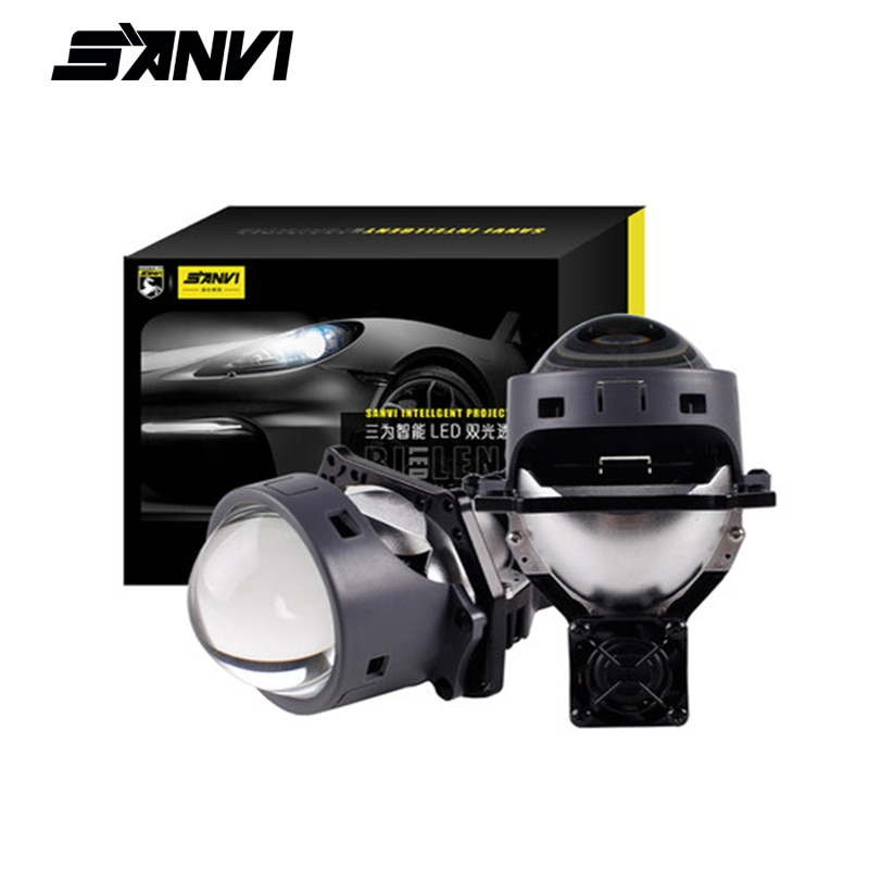 SANVI 2PC 3 pulgadas del coche Bi lentes de proyector LED faro 55w 5500K de hielo lámpara accesorios de luz de coche de la motocicleta faro
