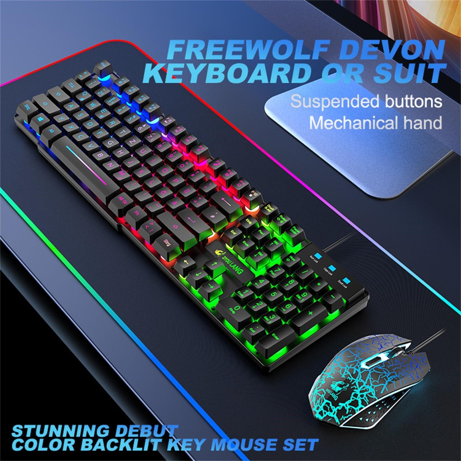 T13 الألمانية لوحة المفاتيح مجموعة محمول مفاتيح صامتة مريح قزحي الألوان مختلطة ضوء Usb الألعاب لوحة مفاتيح وماوس