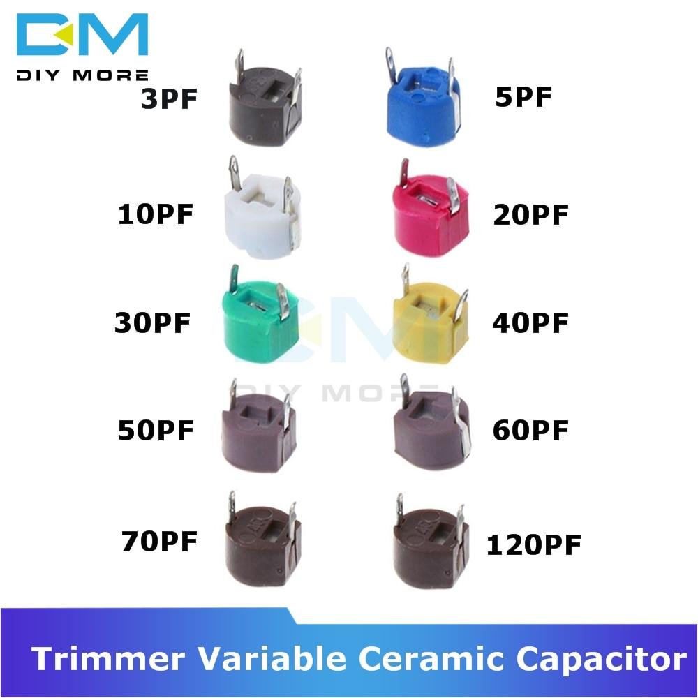 10PCS 6mm Trimmer Variable Ceramic Capacitor 3PF 5PF 10PF 20PF 30PF 40PF 50PF 60PF 70PF 120PF Adjustable Capacitors for Arduino 2sc5793 c5793 to 3pf