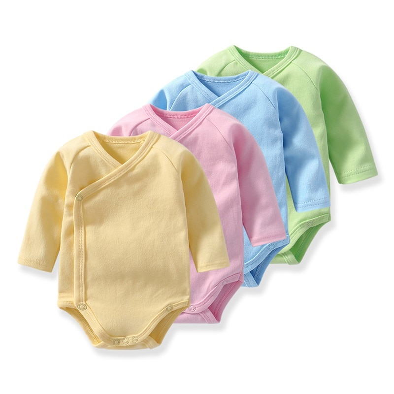 Newborn baby bodysuit cotton oblique buckle romper clothes girl and boy baby long-sleeved triangle jumpsuit