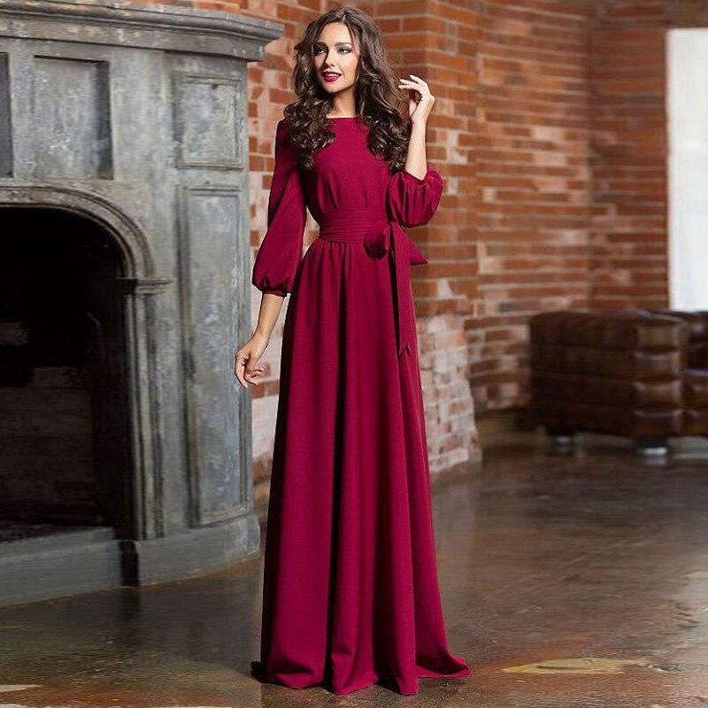 Aecu outono inverno mulher o-pescoço vestido longo estilo boêmio vestidos vintage três quartos lanterna manga vestido de festa maxi