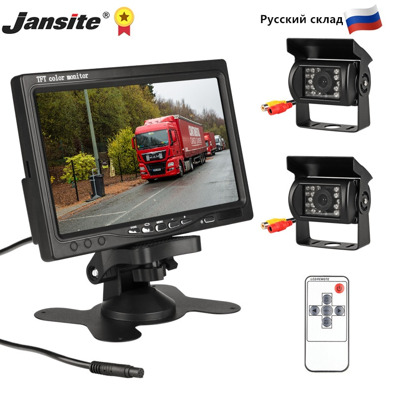 Get Jansite 7 inch Wired Car monitor TFT LCD Rear View Camera Two Track rear Camera Monitor For Truck Bus Parking Rear view System