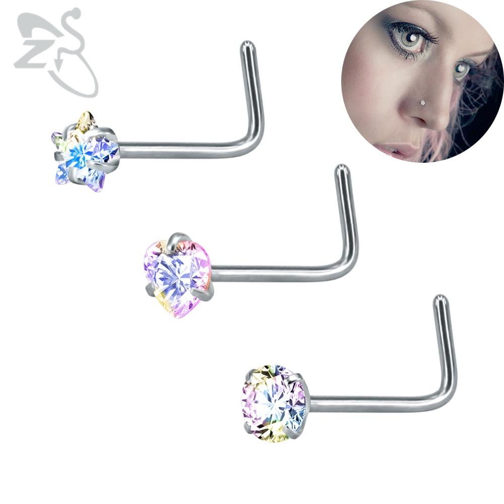 Многоцветные кольца для носа из горного хрусталя, для пирсинга, хирургические стальные хрустальные крючки, носовые шпильки для пирсинга, шп...