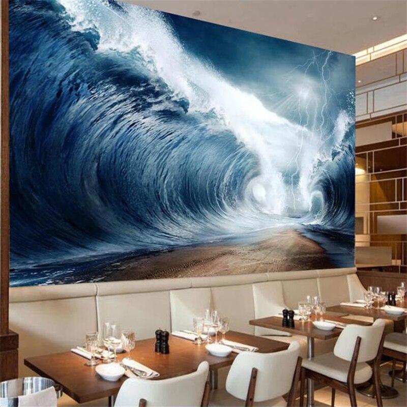 Beibehang, moda grande personalizada, pintor de pared con Ola Azul, pintura al óleo de moda, estilo nórdico minimalista, pared de fondo de TV