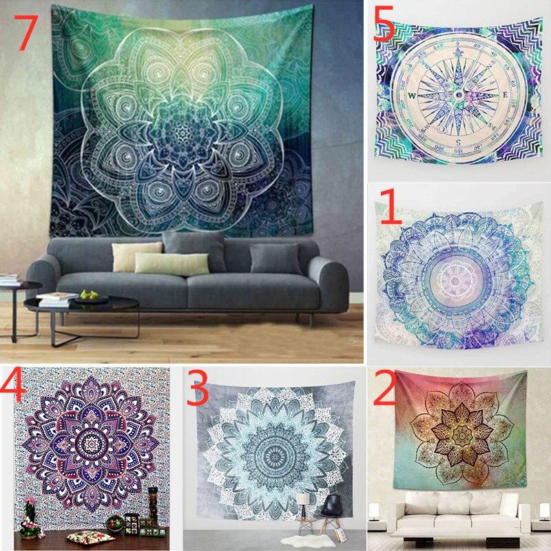 Tapiz de Mandala bohemio, estera de Picnic de poliéster, bordado de loto, cortina de cama de tiro indio grande, colcha Hippie, colcha para colgar en la pared
