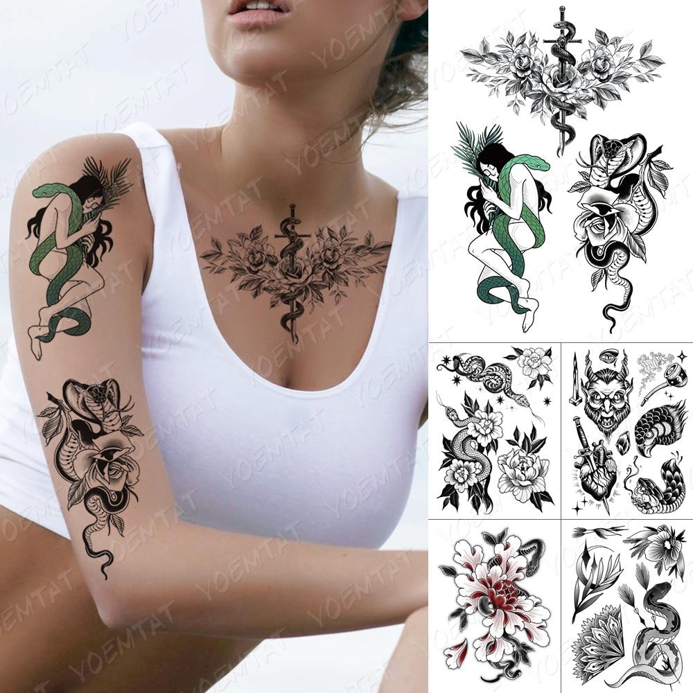 Водостойкая Временная тату-наклейка, змея, розы, девушка, меч, флэш-тату, Орл, роза, старый школьный боди-арт, искусственная татуировка на рук...
