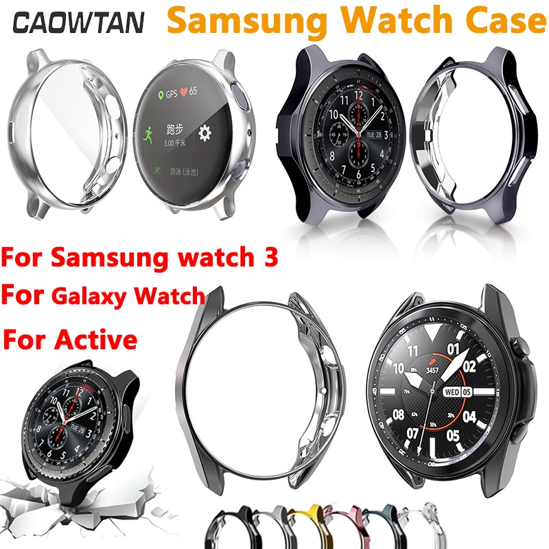 case for samsung galaxy watch 46mm 42mm strap tpu plated screen protector cover bumper s 3 42 46 mm gear s3 frontier band Case cover For Samsung Galaxy Watch 46mm 42mm Gear S3 soft TPU plated For Galaxy Watch 3 41mm Active 2 40 44mm screen protector