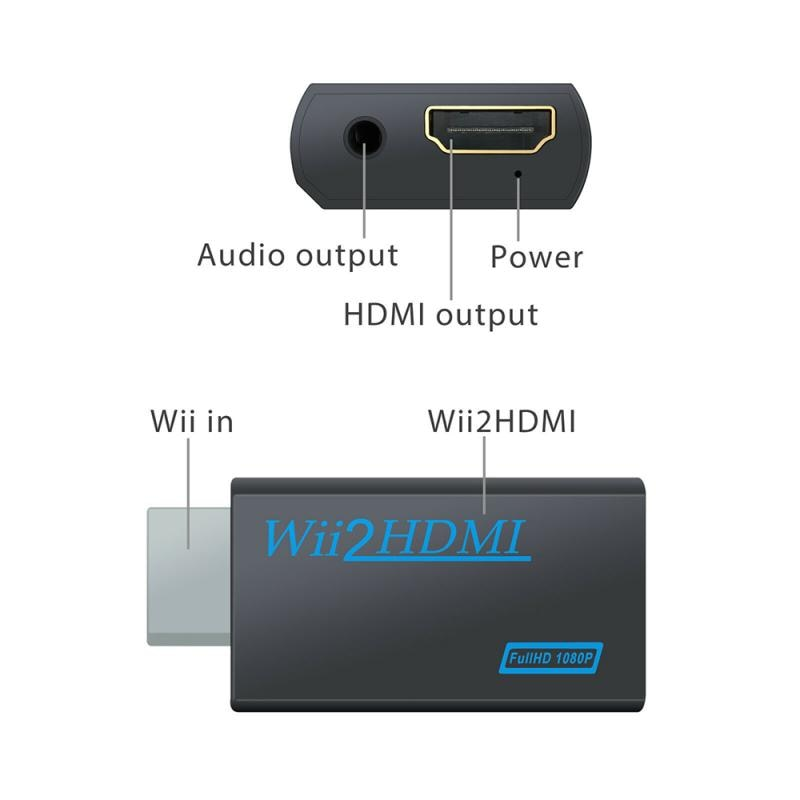 Nuevo Full HD 1080P Wii a HDMI Adaptador convertidor Wii2HDMI convertidor de...