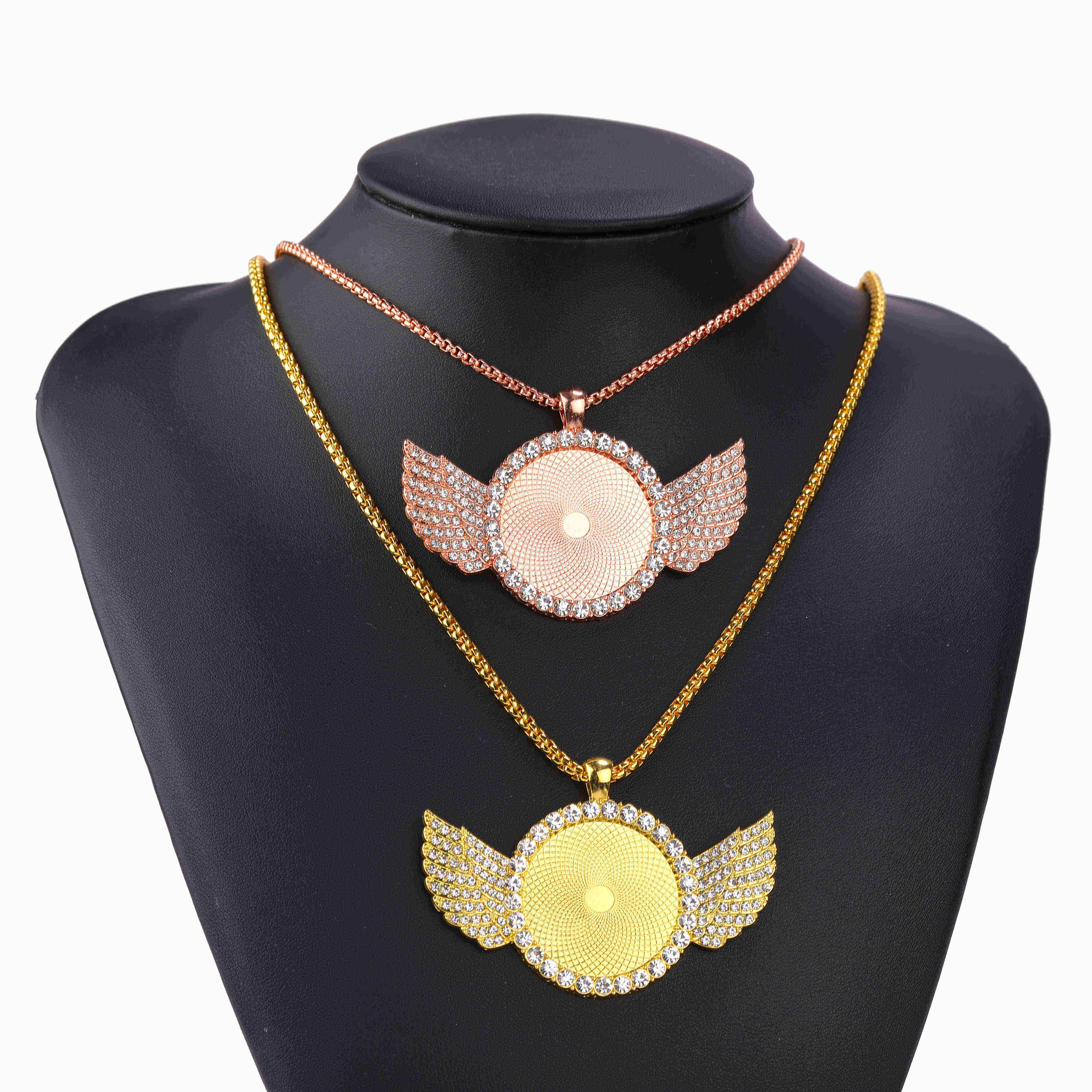 Juya 2 pçs jóias pingente colar gargantilha corrente moda asa base cabochão liga diy acessórios sem bandeja de vidro jóias descobertas