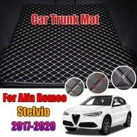 leather car trunk mat for alfa romeo stelvio 2017 2018 2019 2020 2021 cargo liner boot pad auto accessories decoration