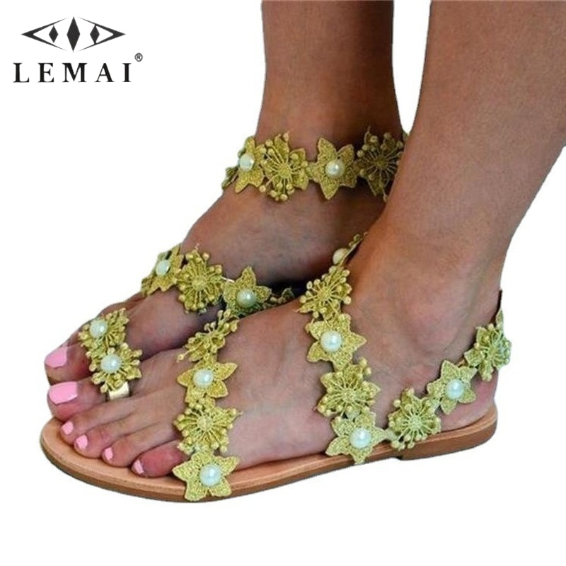 Flat Women Sandals Round Toe Floral Roman Comfortable Beach Holiday Ladies Shoes Solid Color Peep Flip-flops