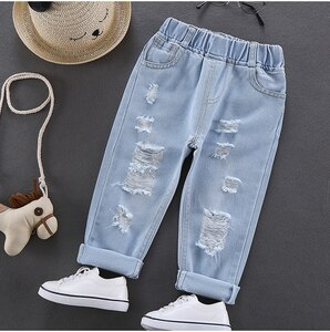 summer autumn Boys Pants Cotton Clothes Toddler Comfortable Soft boys jeans boys hole Trousers For Children Kids size: 90-130